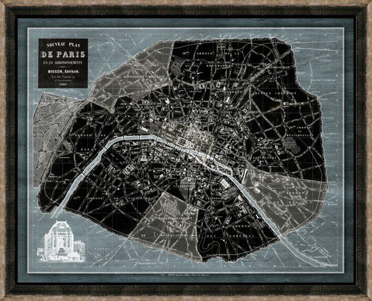 Black and Silver Framed Denim Paris Map