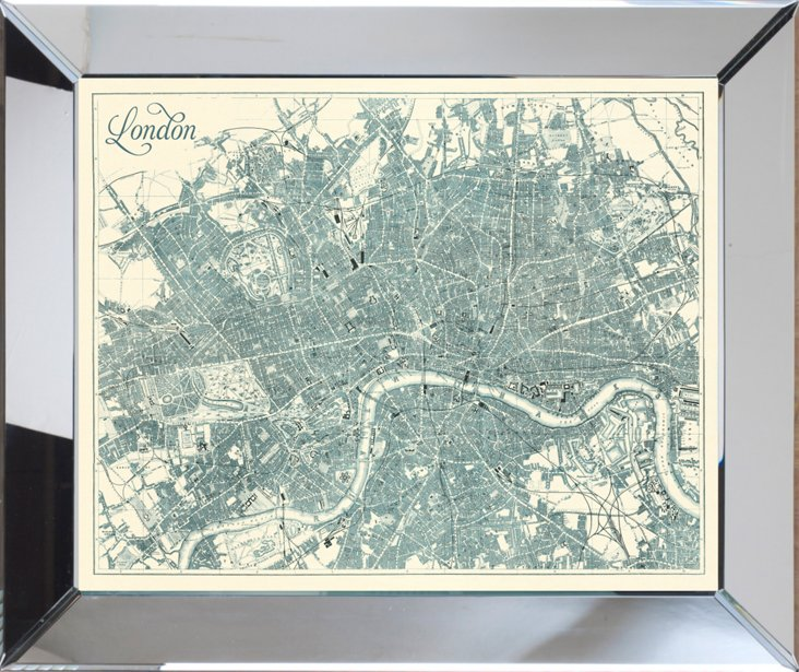 Mirror Framed Teal London Map