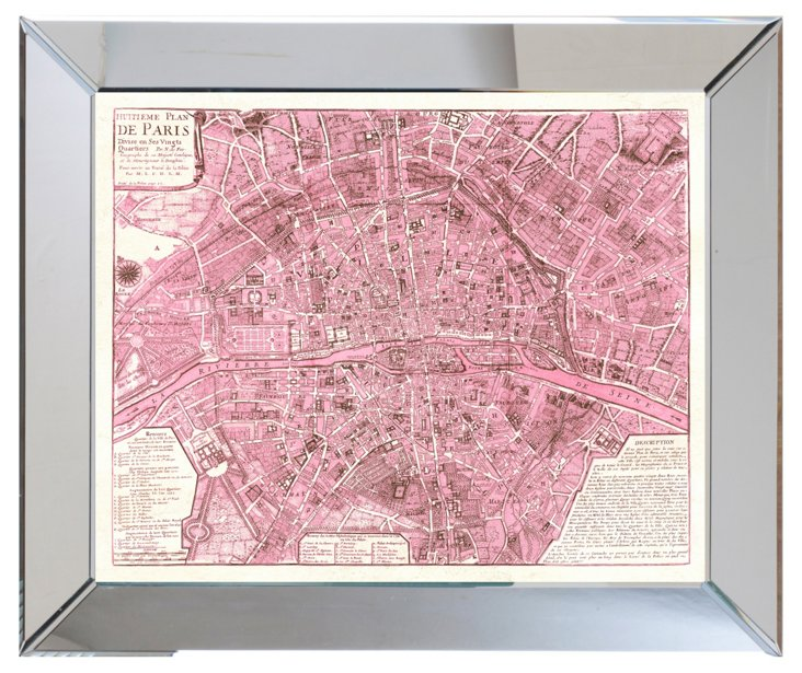 Mirror Framed Pink Paris Map