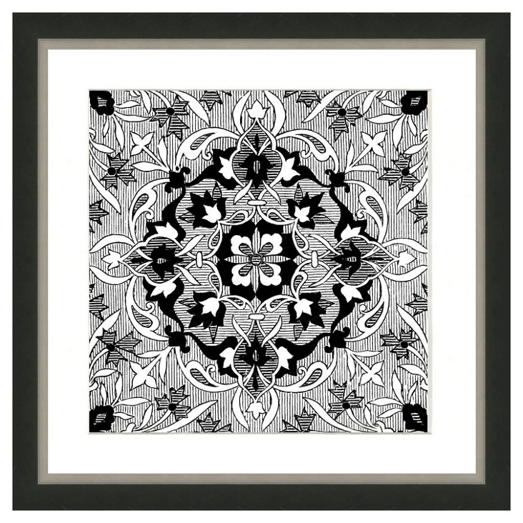 Black and White Persian Print