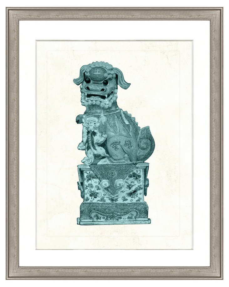 Teal Foo Dog Print I