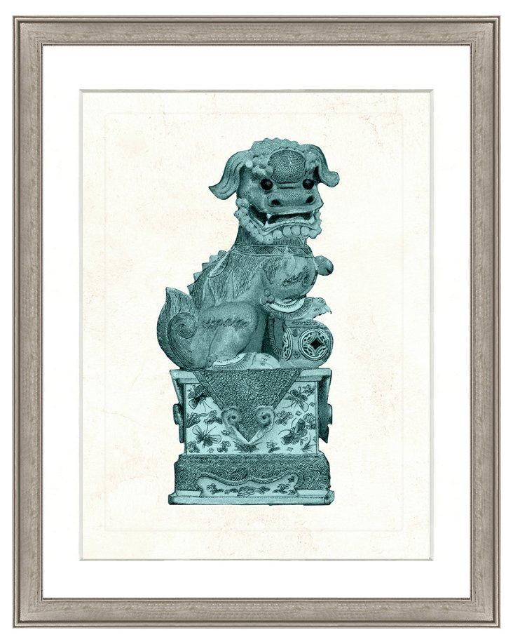 Teal Foo Dog Print I