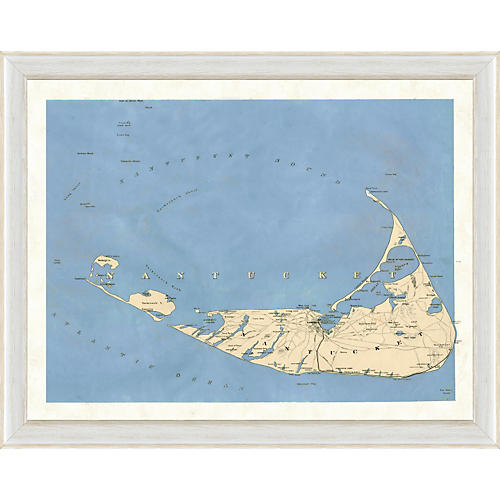 Blue Toned Nantucket Map