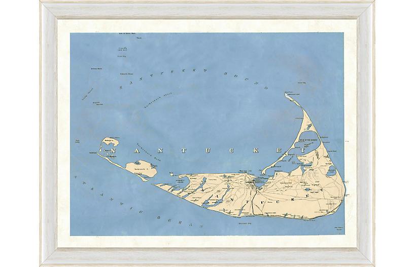 Blue Toned Nantucket Map