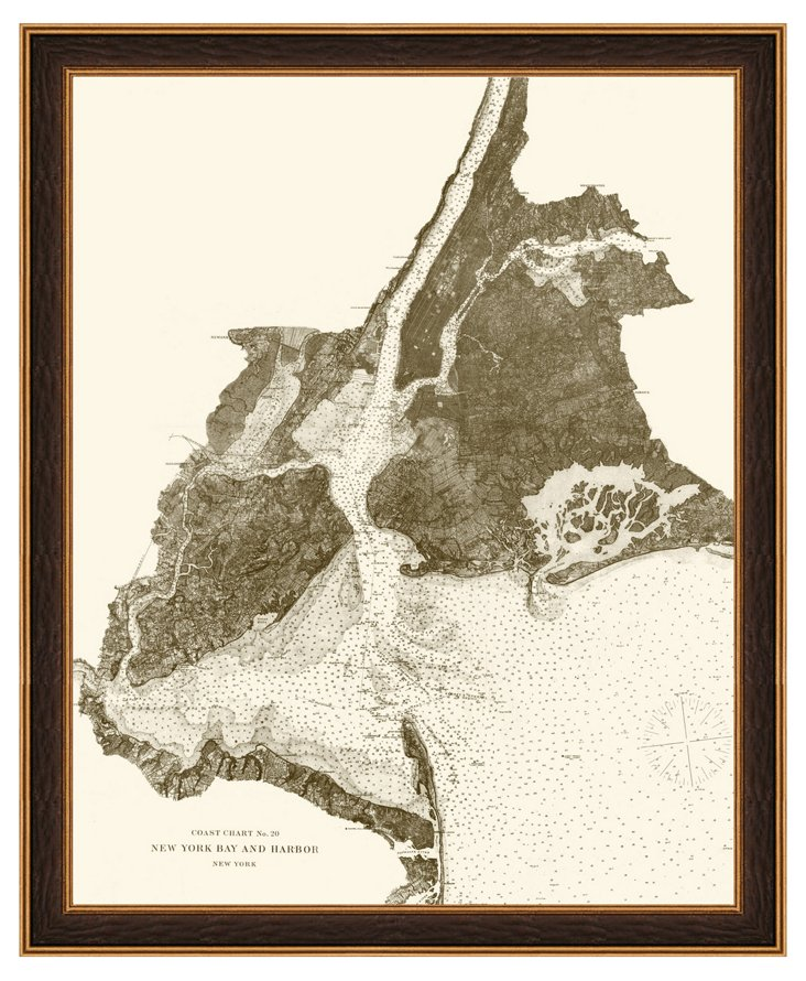 New York Bay and Harbor Map