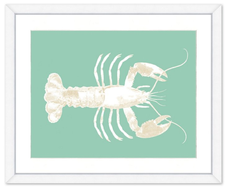 Teal and Cream Lobster Print