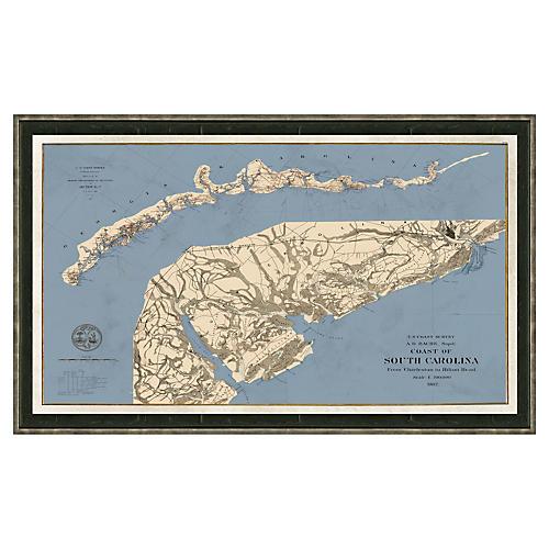 Blue-Toned Charleston to Hilton Head Map