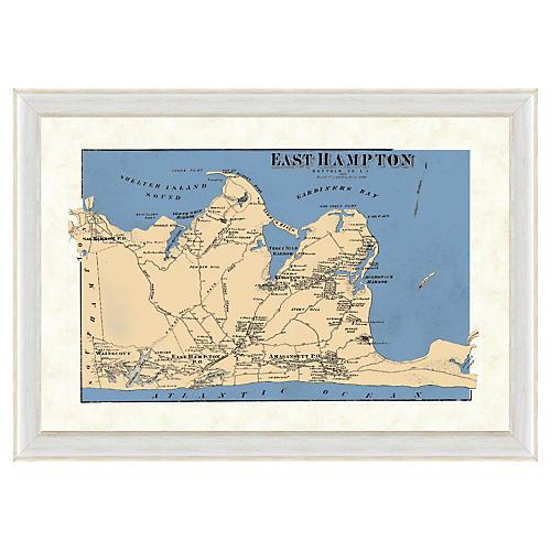 Blue-Tone East Hampton Map