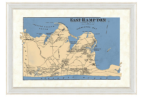 Blue-Tone East Hampton Map
