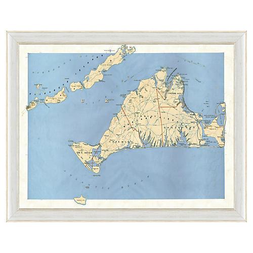 Blue Toned Martha's Vineyard Map