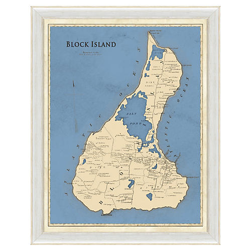 Blue-Toned Block Island Map