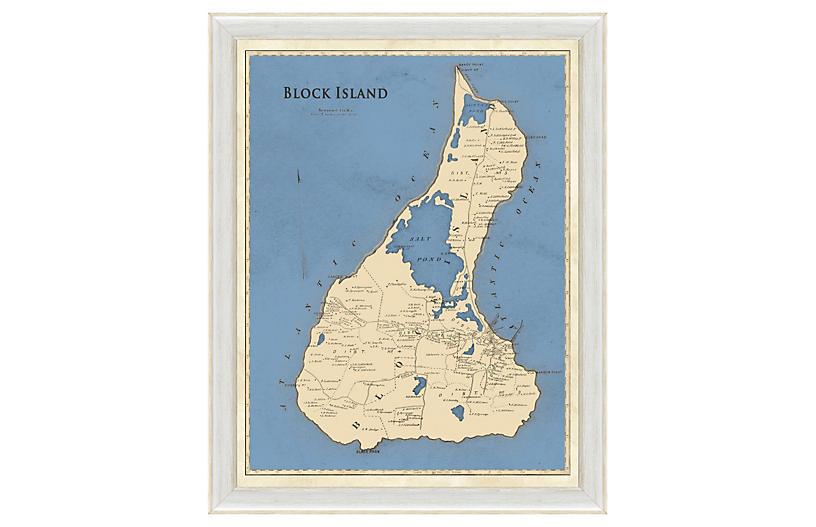 Blue-Toned Block Island Map