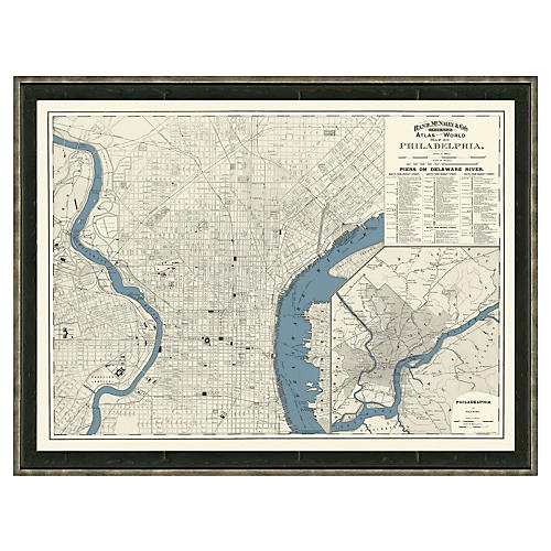 Blue-Toned Philadelphia Map