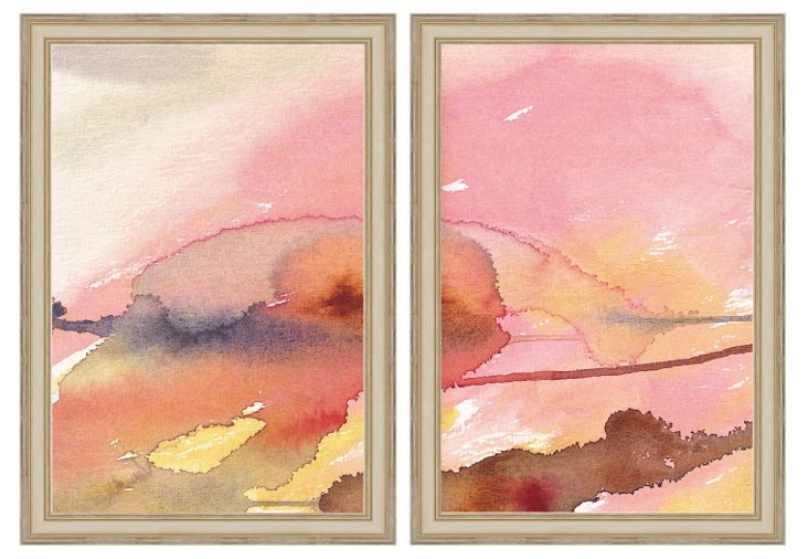 Pink Watercolor Diptych