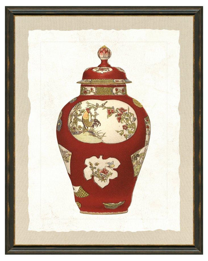 Black Framed Red Vase Print I