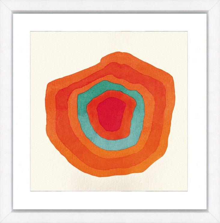 Teal and Orange Circle Abstract II