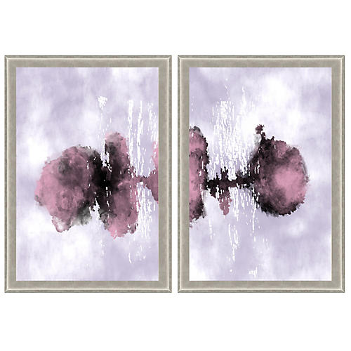 Purple Watercolor Ink Diptych