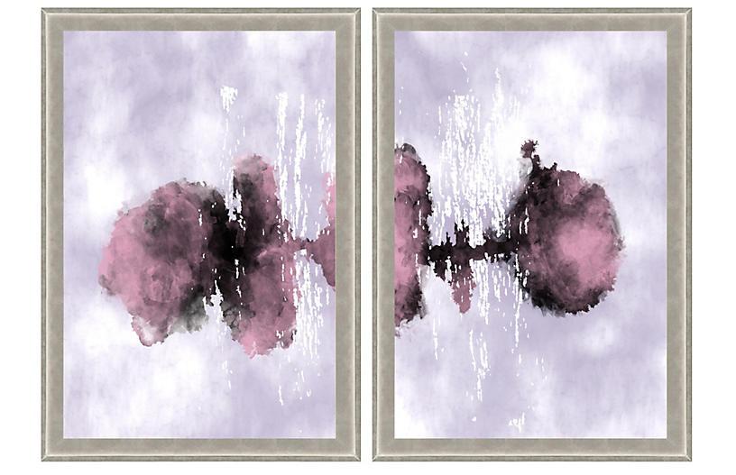 Purple Watercolor Ink Diptych