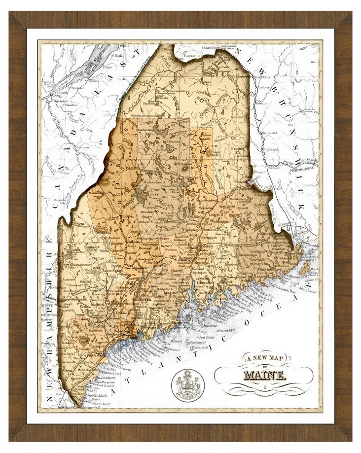 Map of Maine, Sepia