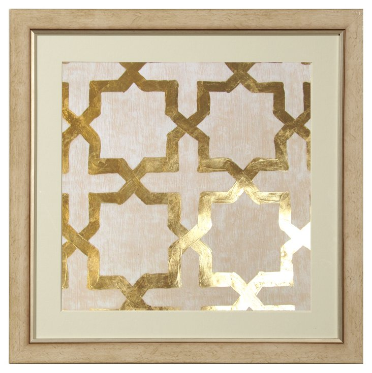 Real Gold-Leaf Cream Geometric II