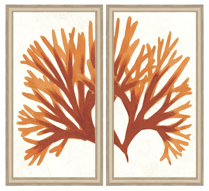 Orange Coral Diptych