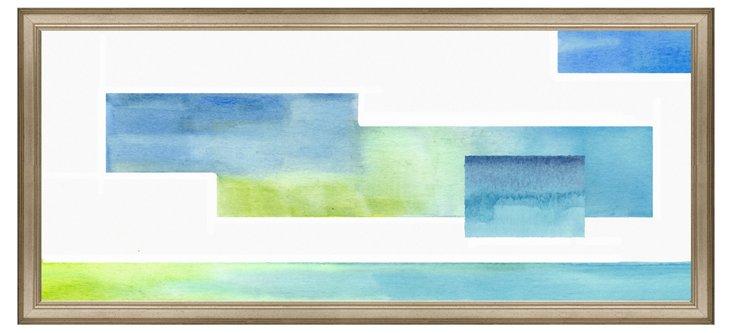 Blue and Green Geometric Panel