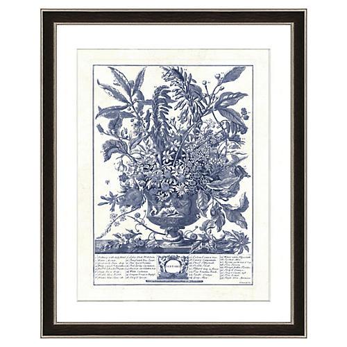 Navy Vase Botanical Print I