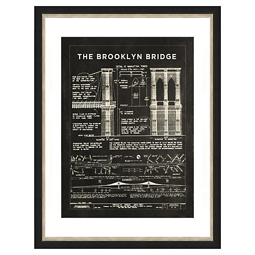 Brooklyn Bridge Patent Print in Slate