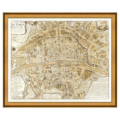 Sepia Paris Map