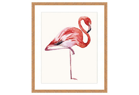 Watercolor Flamingo Print I