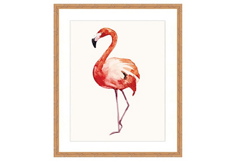 Watercolor Flamingo Print II