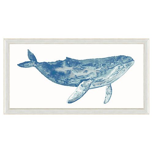 Watercolor Blue Whale Print