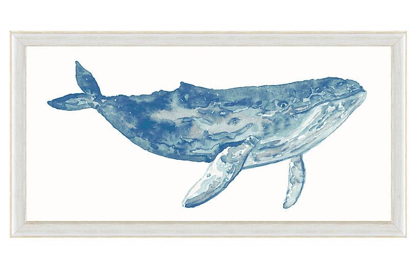 Watercolor Blue Whale Print