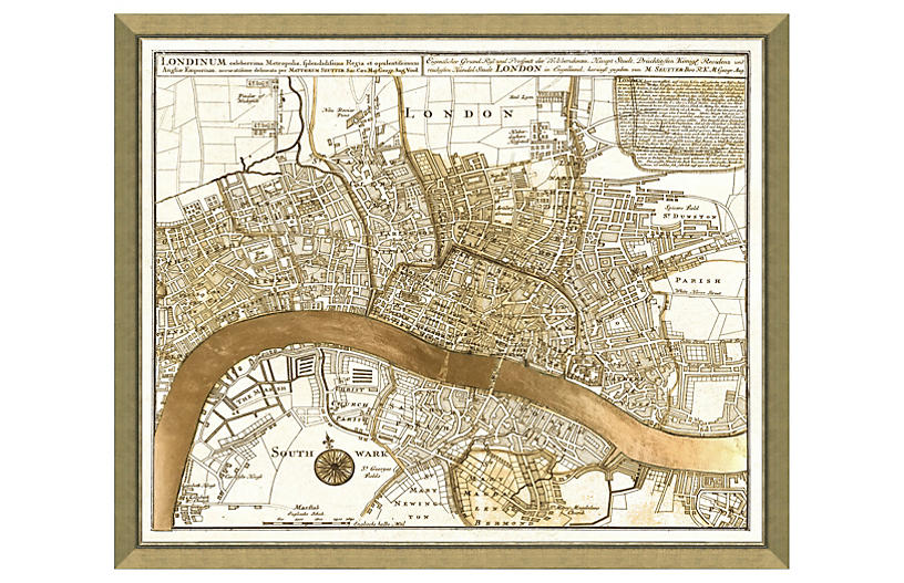 Real Gold Leaf London Map