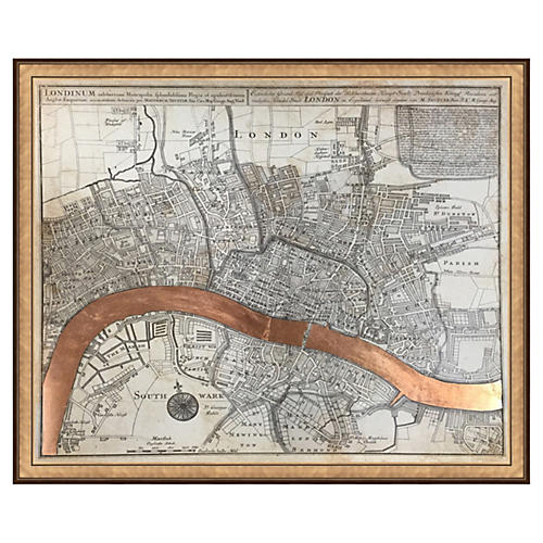 Real Rose Gold Leaf London Map