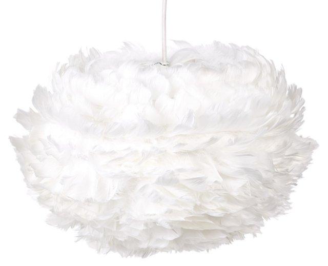 Eos Feather Plug-In Pendant, White