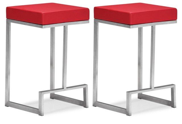 Red Darwen Counter Chairs, Pair