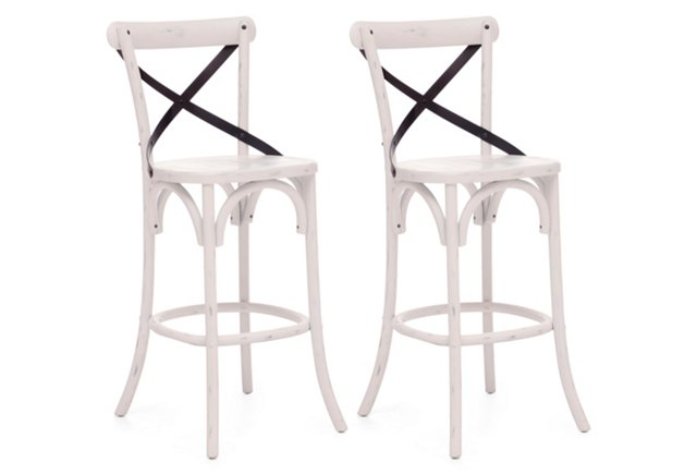 White Allen Bar/Counter Stools, Pair