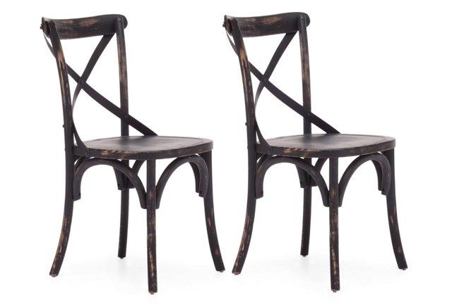 Distressed Black Allen Chairs, Pair