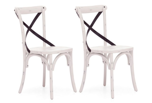 *R Distressed White Allen Chairs, Pair