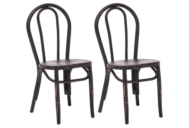 Black Stewart Chairs, Pair