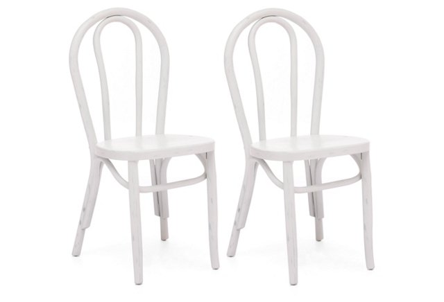 White Stewart Chairs, Pair