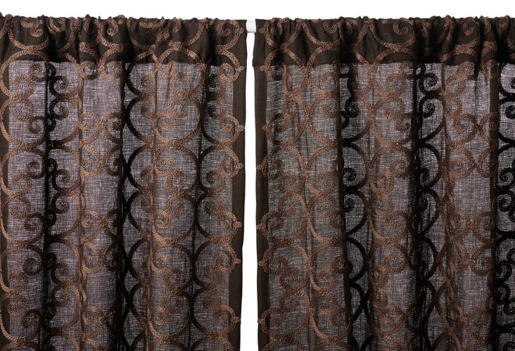 Leiden Embroidered Curtain Panel, Choco