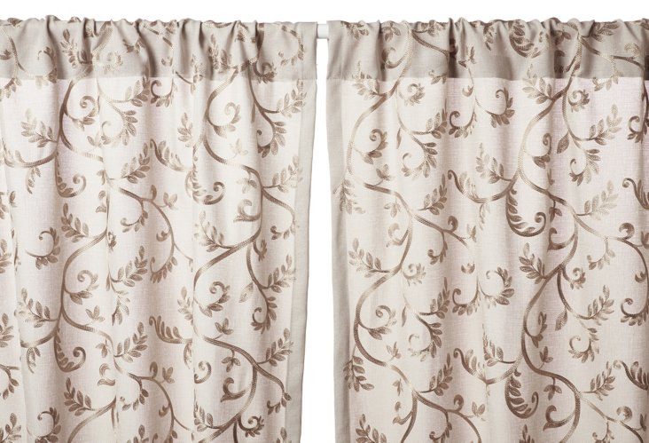 Margo Embroidered Curtain Panel, Natural