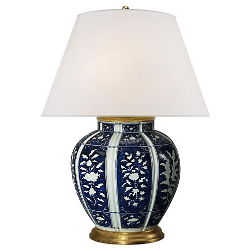 Medeleine Floral Table Lamp, Blue/White