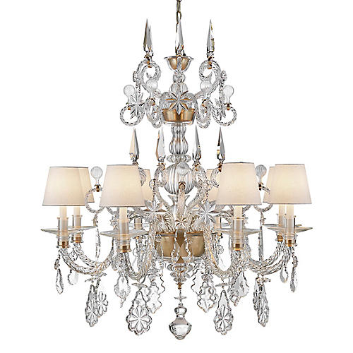Alexandra Large Chandelier, Natural Brass/Crystal