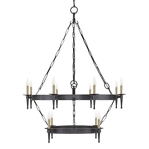 Branson Medium Two-Tier Chandelier, Aged Iron