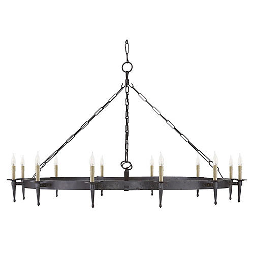 Branson Large One-Tier Chandelier, Aged Iron