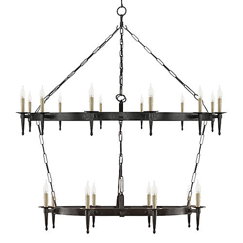 Branson Large Two-Tier Chandelier, Aged Iron