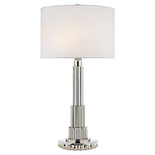 Polished nickel clear briggs table lamp
